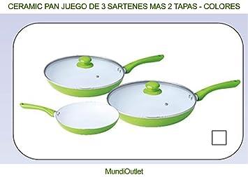 CERAMIC PAN JUEGO DE 3 SARTENES MAS 2 TAPAS: Amazon.es: Hogar