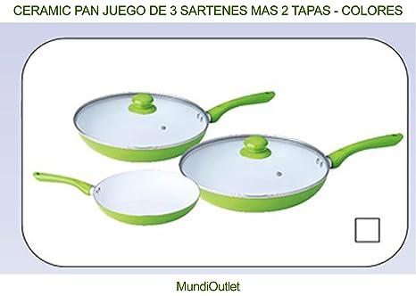 CERAMIC PAN JUEGO DE 3 SARTENES MAS 2 TAPAS