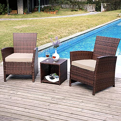 SUNSITT 3-Piece Wicker Outdoor Bistro Table Set