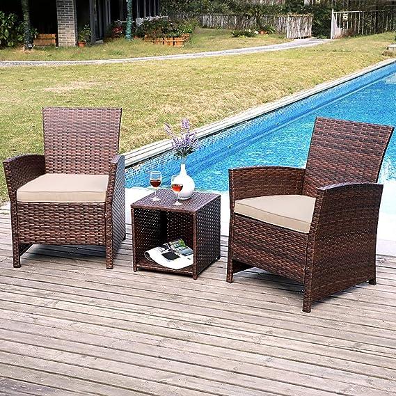 Amazon Com Sunsitt 3 Piece Wicker Outdoor Bistro Table Set With Beige Cushions Brown Rattan Garden Outdoor
