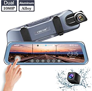 """CHICOM Mirror Dash Cam,Backup Camera 10"""" Car Dash Camera Touch Screen 1080P Rearview Front and Rear Dual Lens with Waterproof Reversing Camera,Enhanced Night Vision,HDR"""