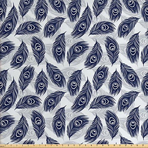 Ambesonne Feather Fabric by The Yard, Peacock Feathers Pattern Divine Symbolic Sacred Energy Pigments Wellness, Decorative Fabric for Upholstery and Home Accents, Pale Grey - Divine Valance