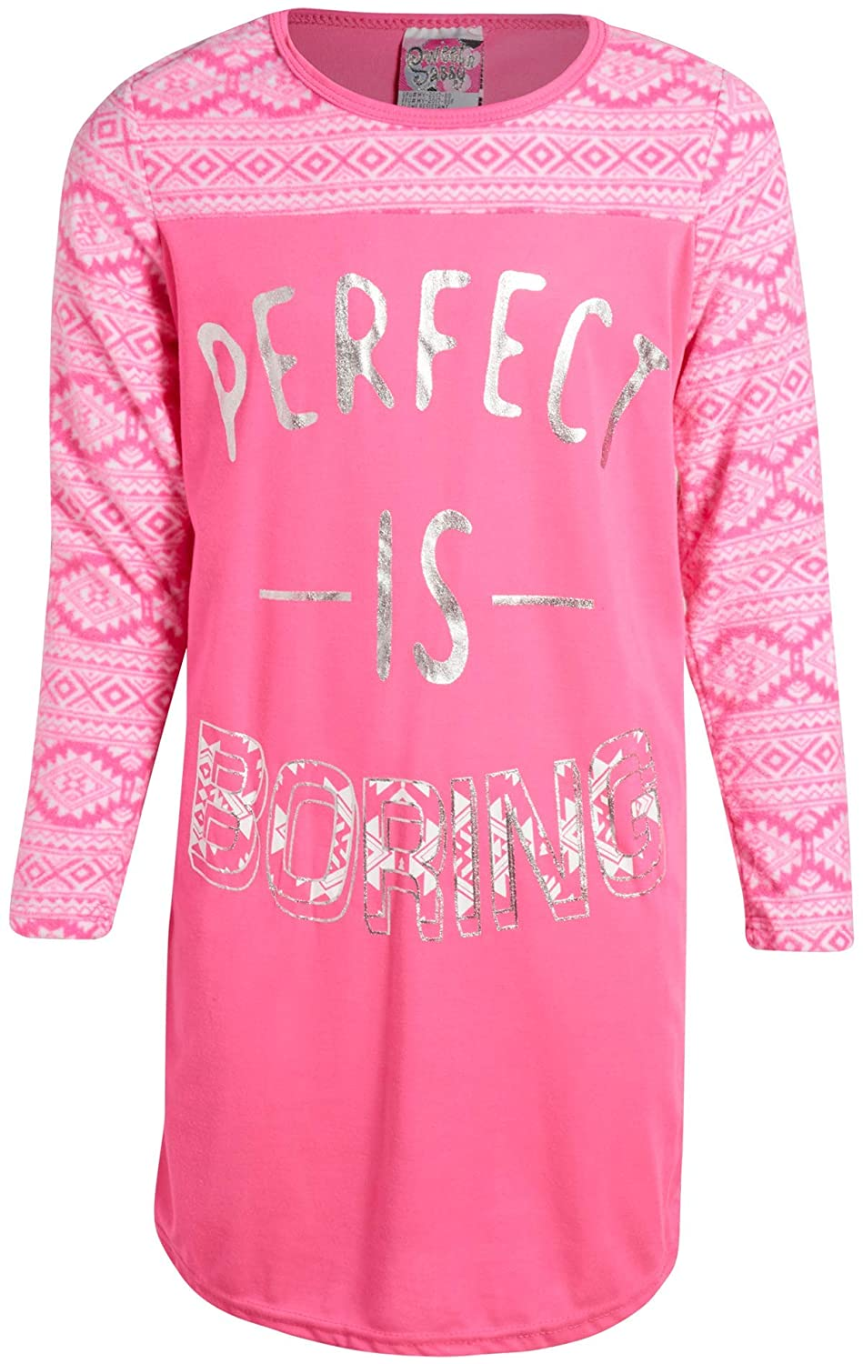 2 Pack Sweet /& Sassy Girls Poly Knit Nightgown with Polar Fleece Sleeves