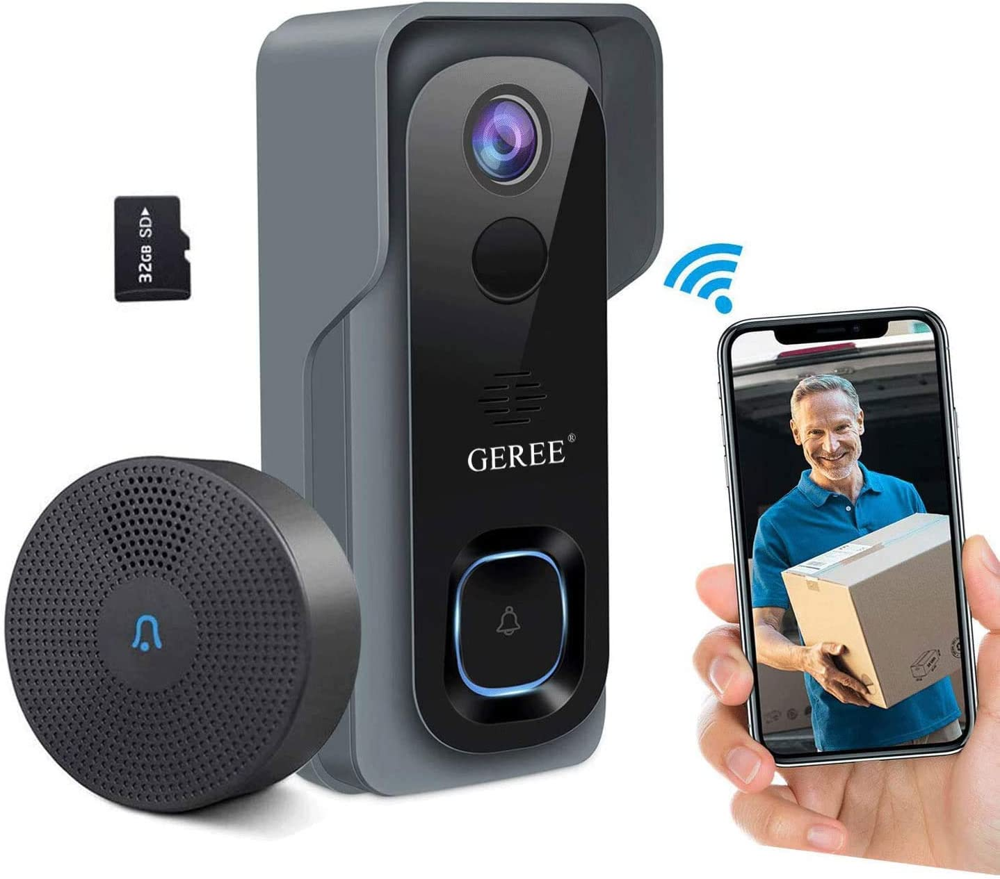 GEREE Video Doorbell Camera Wireless - Best Adjustable