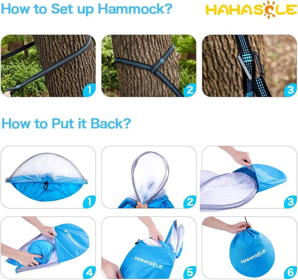 HAHASOLE Camping Hammock with Mosquito Net Ripstop Nylon Lightweight /& Portable Travel Bed Set with Bug Nets for Hiking Backpacking Beach Easy Setup Outdoor Gear Includes Tree Straps /& Carabiners