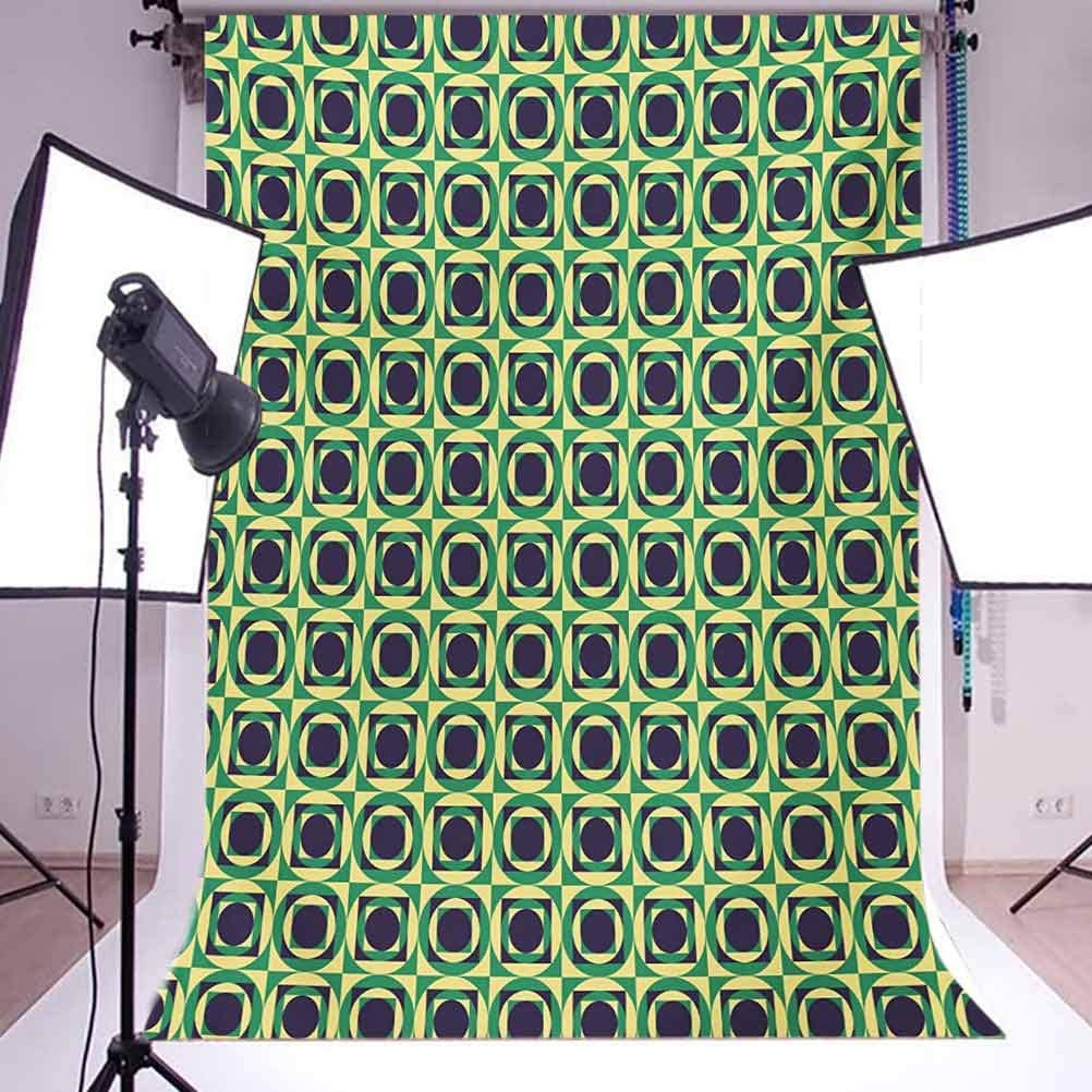 Abstract 6x8 FT Photo Backdrops,Checkered Pattern with Circles Inside Squares Nineties Style Background for Baby Shower Bridal Wedding Studio Photography Pictures Dark Purple Yellow and Green