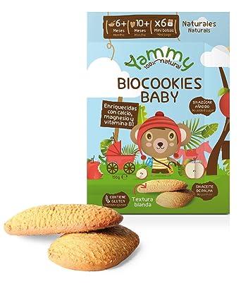 Yammy - Galletas Sin Azúcar Ecológicas Bebé 6 Meses Pack 6 x 150 gramos - Total