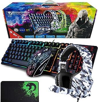 LexonElec 4-en-1 Teclado para juegos Combo de mouse Cableado con arco iris Retroiluminado 104 Teclas Gamer Keyboard + 2400DPI Ajustar 6 botones Ratón ...