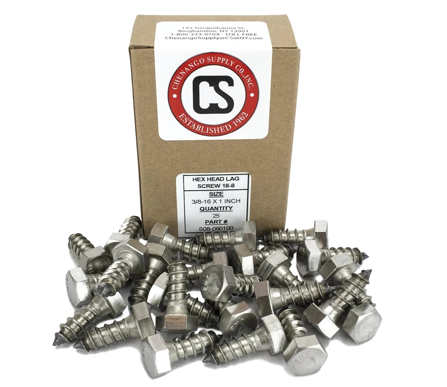 25 pieces 18-8 Stainless Steel 3//8 x 2-1//2 1 To 5 Lengths Available in Listing Stainless 3//8 x 2-1//2 Hex Lag Screw