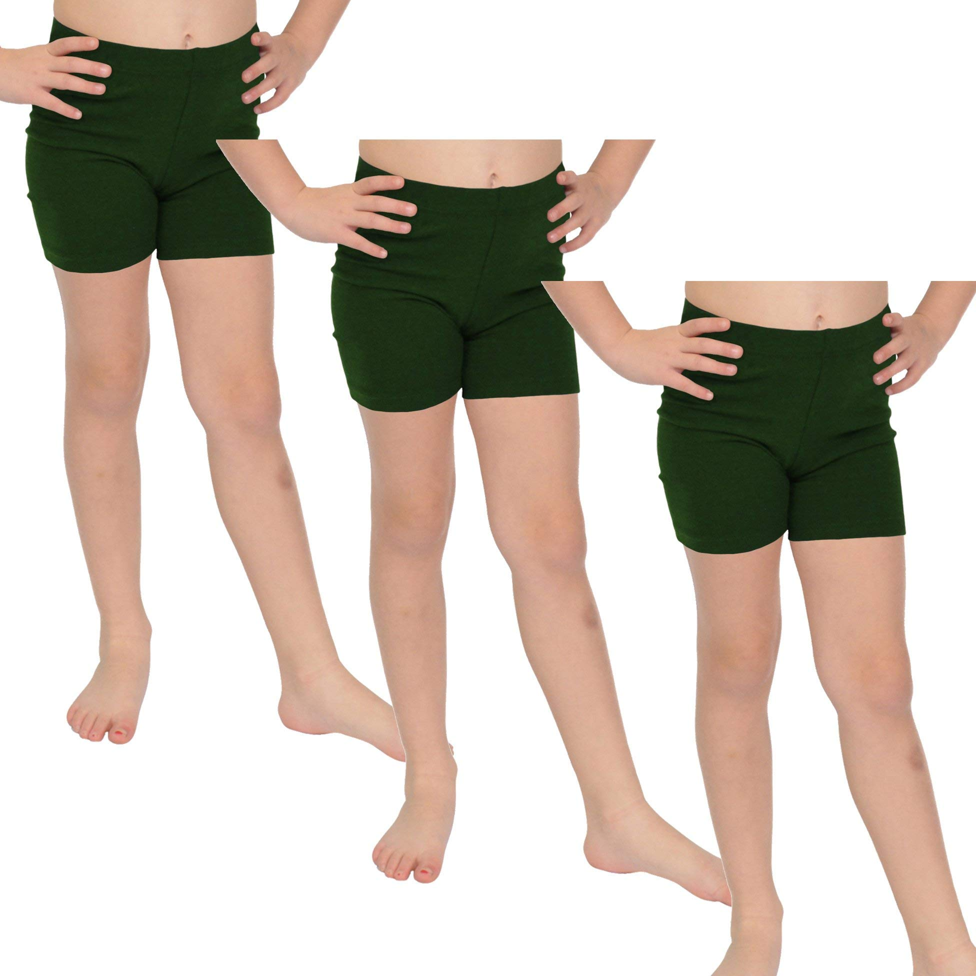 Stretch is Comfort Girl's Cotton Biker Shorts Set of 3 Pieces Hunter Green Small by Stretch is Comfort