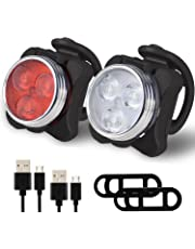 Balhvit Bike Light Set, Super Bright USB Rechargeable Bicycle Lights, Waterproof Mountain Road Bike Lights Rechargeable