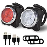 Balhvit Bike Light Set, Super Bright USB Rechargeable Bicycle Lights, Waterproof Mountain Road Bike Lights Rechargeable, Safety & Easy Mount Cree LED Cycle Lights, USB Cycling Front Light & Rear Light