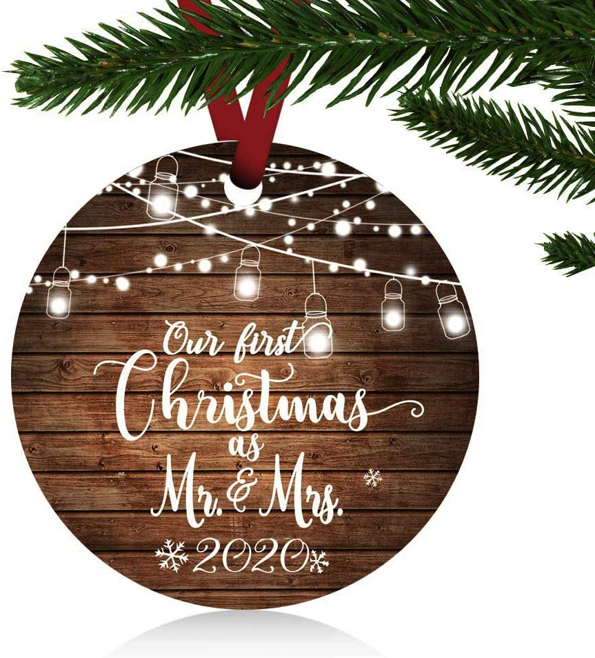 "ZUNON Our First Christmas as Mr & Mrs Ornaments 2020 Christmas Married Wedding Decoration 3"" Ornament (Brown Mr and Mrs)"