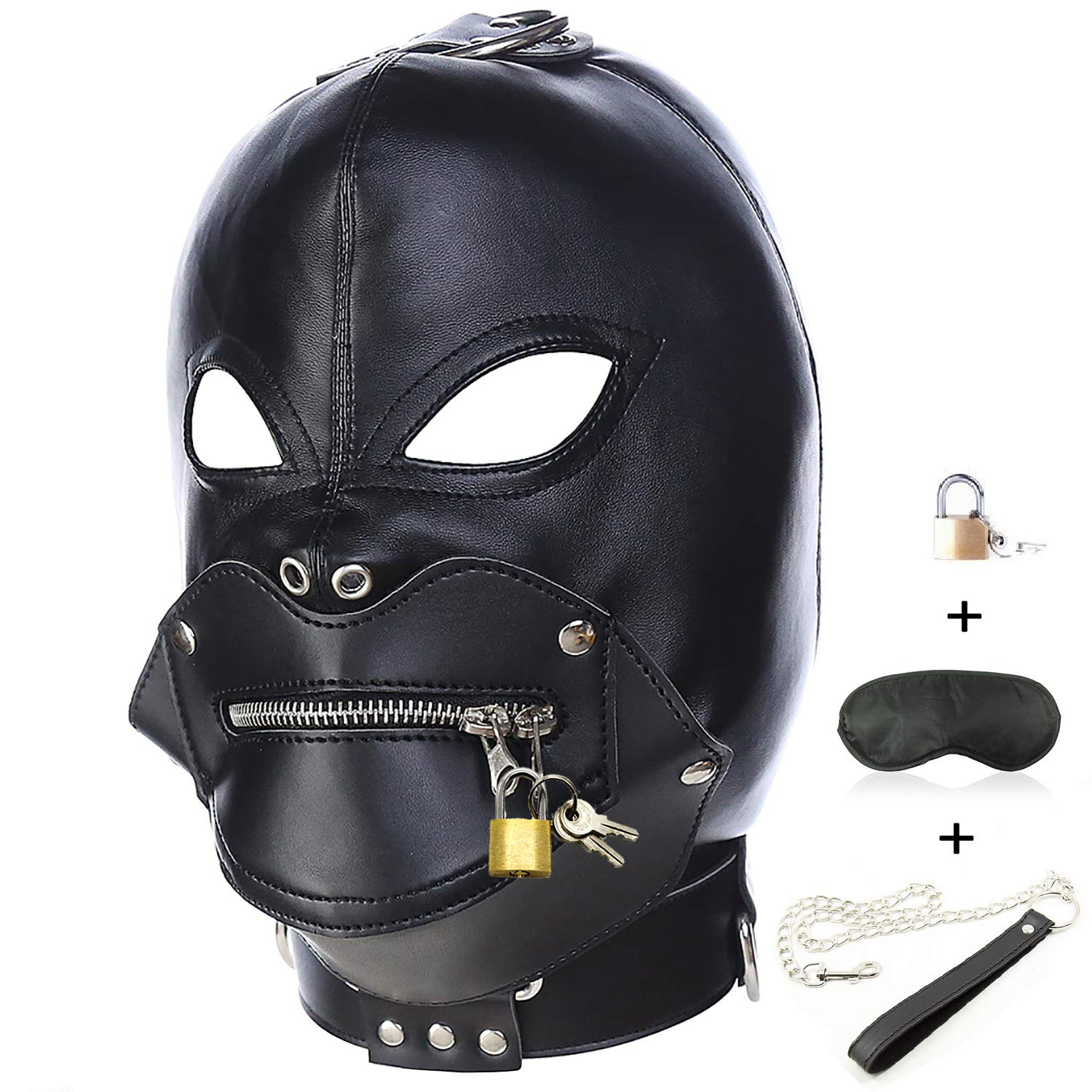 Leather Costume Head Mask Hood - Black Sealed Full Face Nose Holes Breathable Unisex Masquerade Headgear Mask