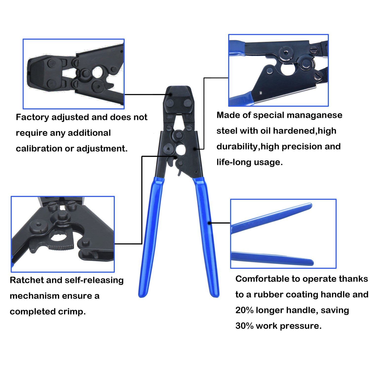 002 JWGJW PEX Clamp Cinch Tool Crimping Tool Crimper for Stainless Steel Clamps from 3//8to 1 with 1//2 22PCS and 3//4 10PCS PEX Clamps