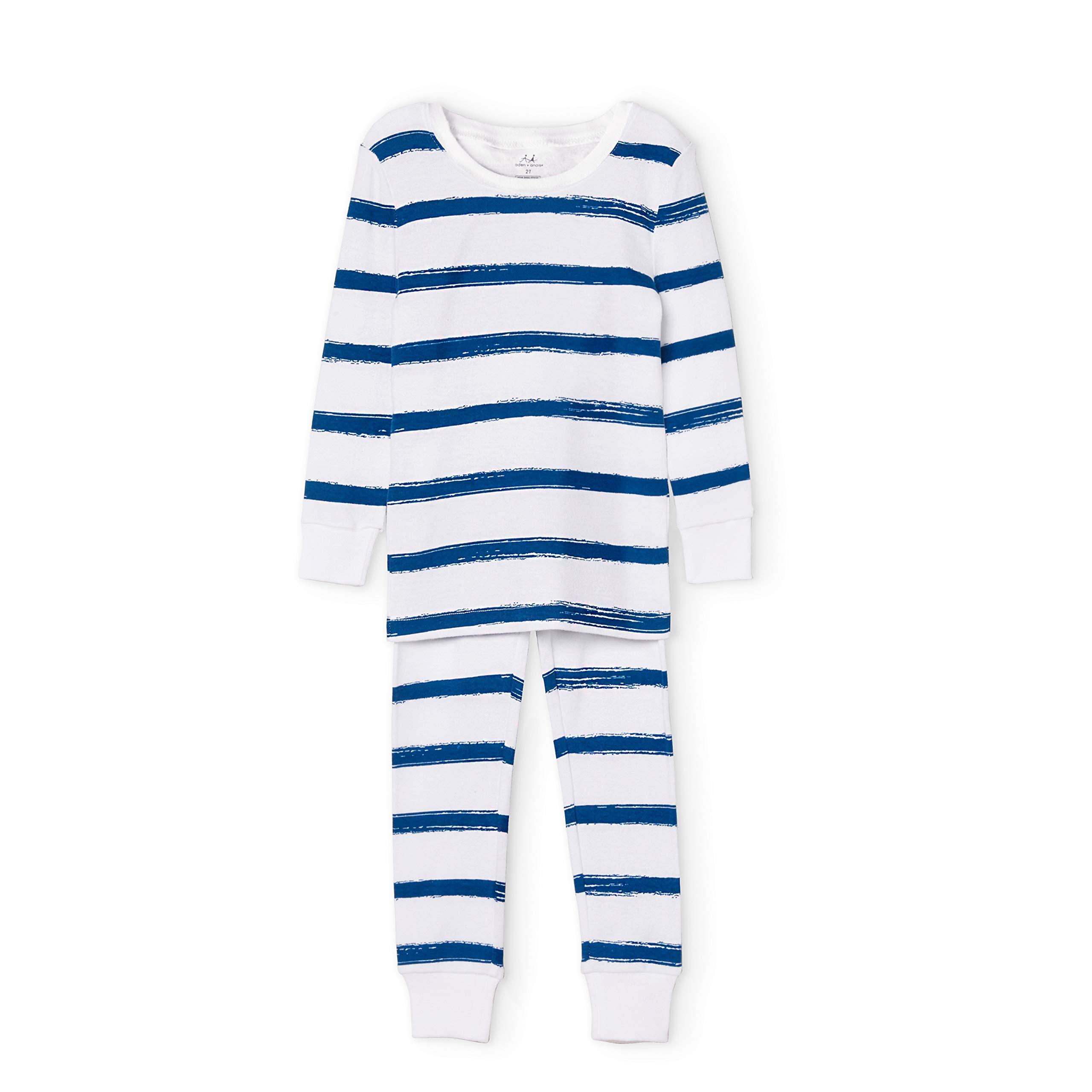 aden + anais Kids' Toddler Cotton Pajamas, Navy Stripe, 3T