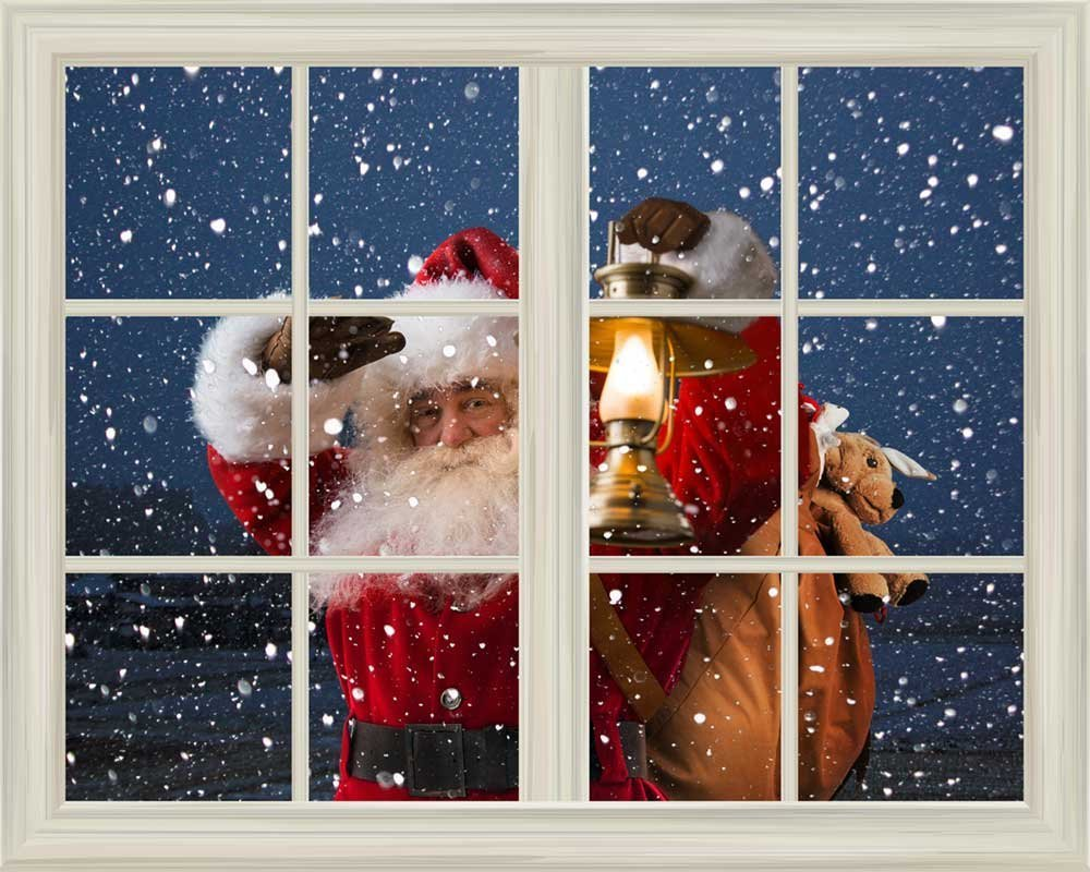 Wall Mural Santa Claus Carrying Gifts Outside Of Window On