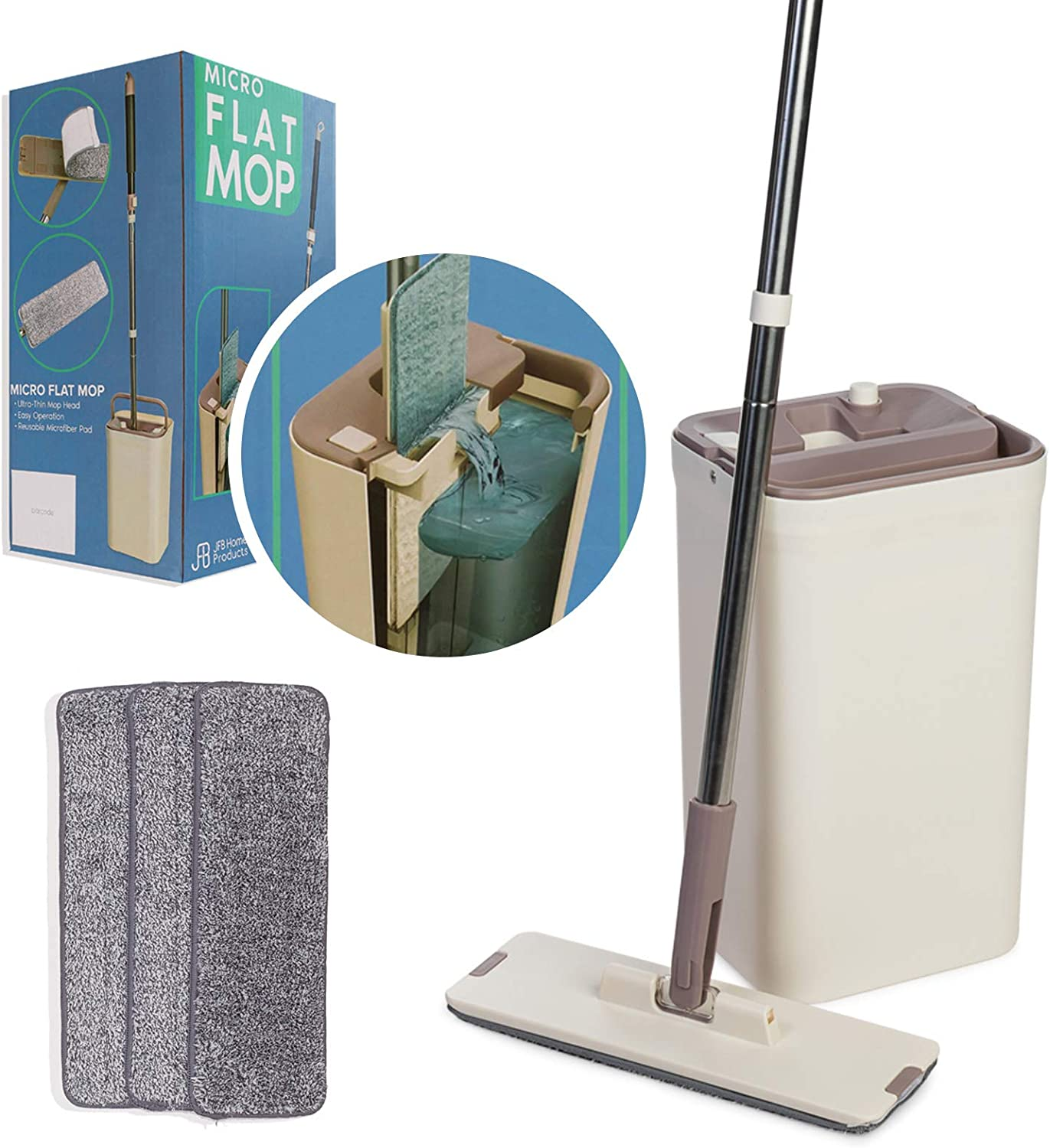 Micro Flat Mop - Mop and Bucket System - Hands-Free Wringing Floor Cleaning Mop - 3 Washable & Reusable Microfiber Mop Pads - Wet or Dry Usage on Wood, Marble, Tile, Laminate, Ceramic and Vinyl Floors