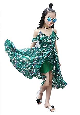 da25f0ae21d BANGELY Kids Girls Floral Print Off-Shoulder Straps Chiffon Dress Ruffle  Boho Long Sundress