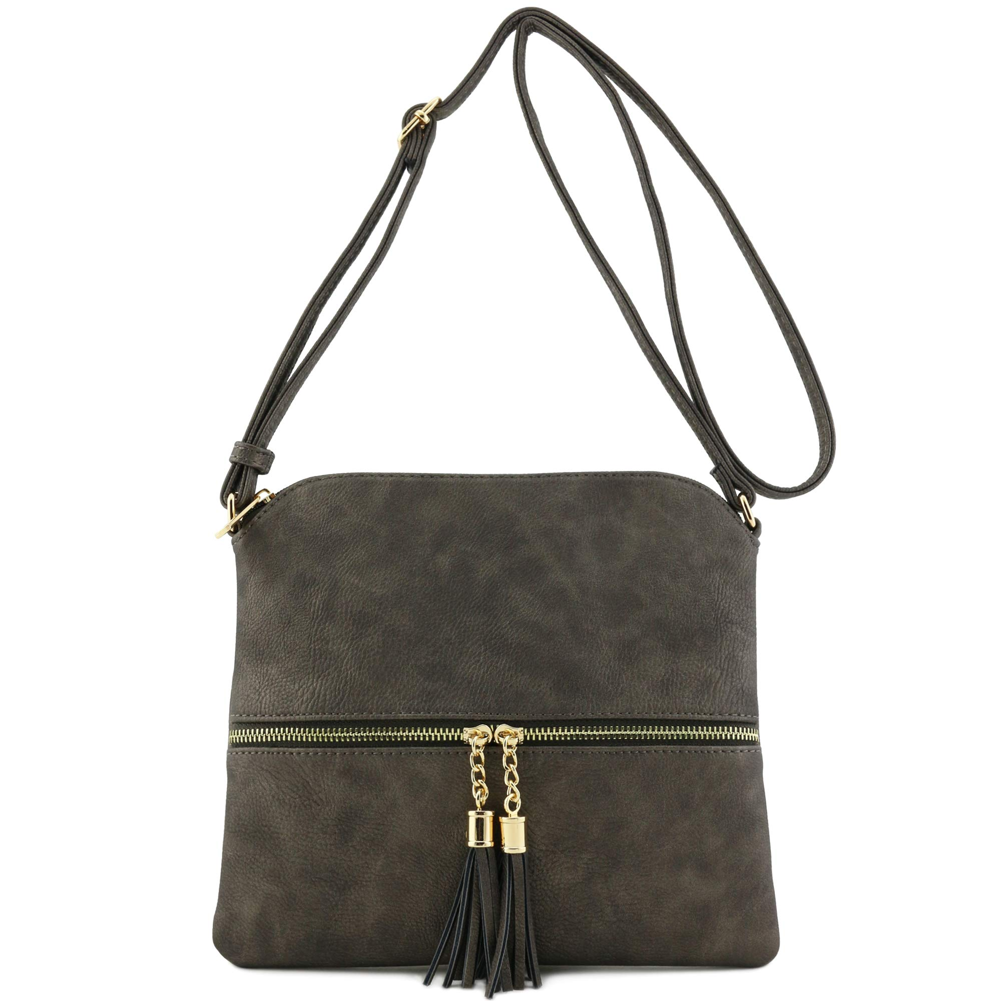 Lightweight Medium Crossbody Bag with Tassel (Pewter) by DELUXITY (Image #2)