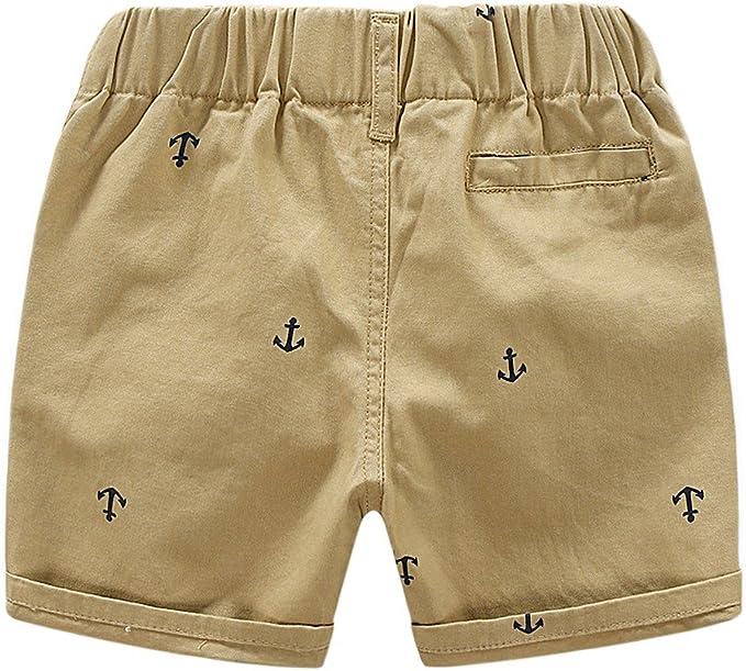 Blaward Bambino Pantaloni corti Cotone Vita Elastica Pantaloncini per Ragazzo con Ancore Abbigliamento Estivo 2-7anni