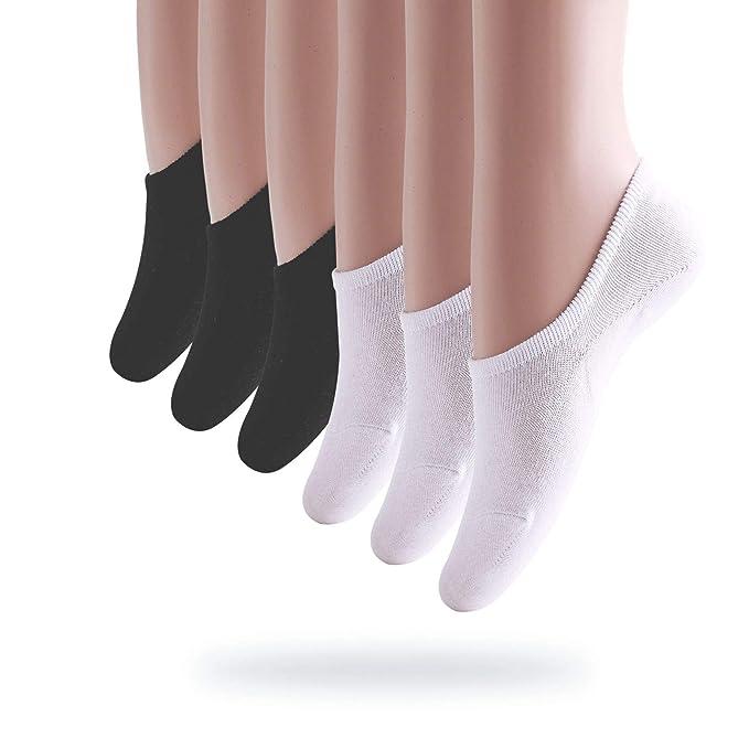 Okany Calcetines Invisibles Mujer De Algodón Calcetines Cortos Elástco Con Silicona Antideslizante (Pack de 6