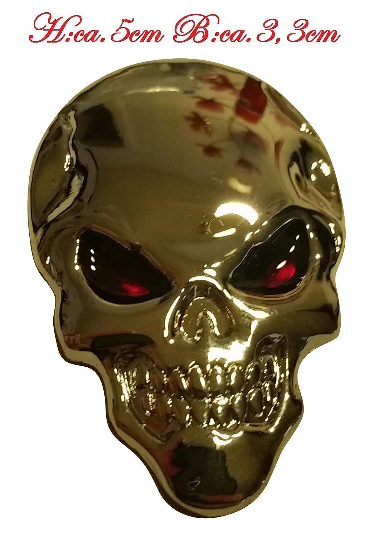 Schwarz ☼ METALL Totenkopf Knochen 3D Aufkleber Skull Auto Motorrad Roller PKW Sticker Emblem