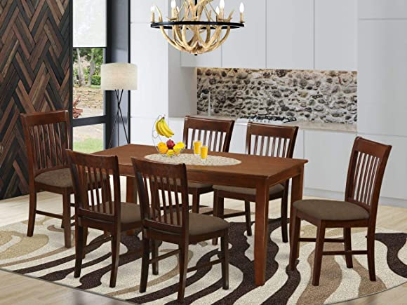 East West Furniture DUNO7-MAH-C 7 Pc Kitchen Set-Linen Fabric Dining Room Chairs Seat Rectangular Table Top and Wooden 4 Legs Mahogany Finish