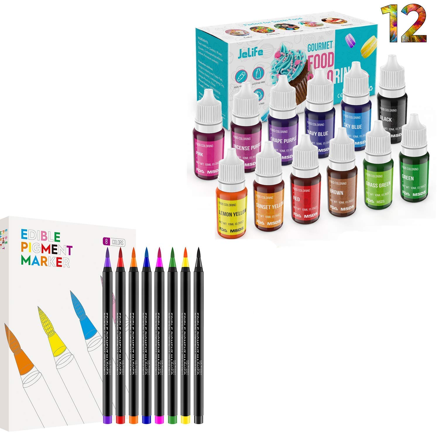 ValueTalks Food Grade Liquid Food Coloring +Edible Markers Vibrant Colors Tasteless Vegan Free Icing Colors Dye for Baking, Cooking, Decorating, Fondant, Slime DIY