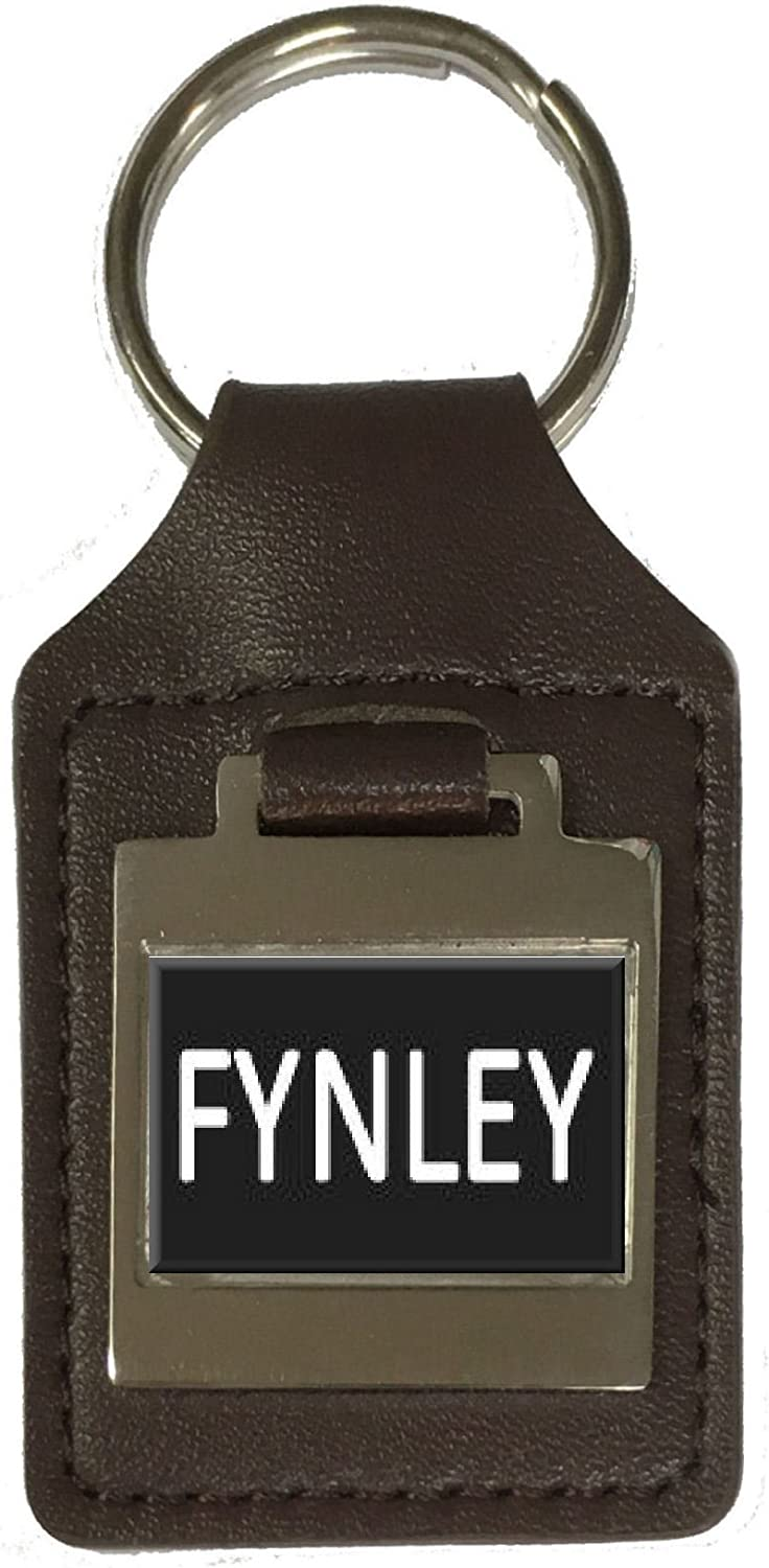 Leather Keyring Birthday Name Optional Engraving Fynley