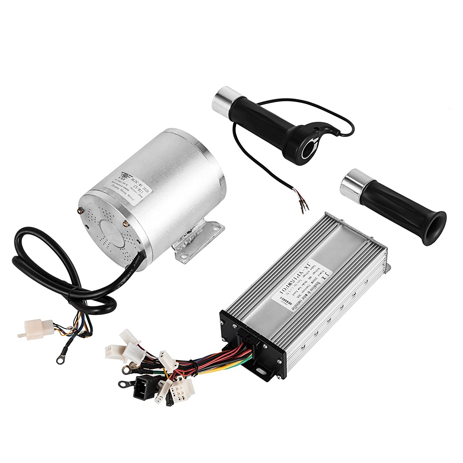 Mophorn 1800w Electric Brushless Dc Motor Kit 48v High Razor Scooter Battery Wiring Diagram Speed With 32a Controller And Throttle Grip For Go Karts E Bike Motorcycle More