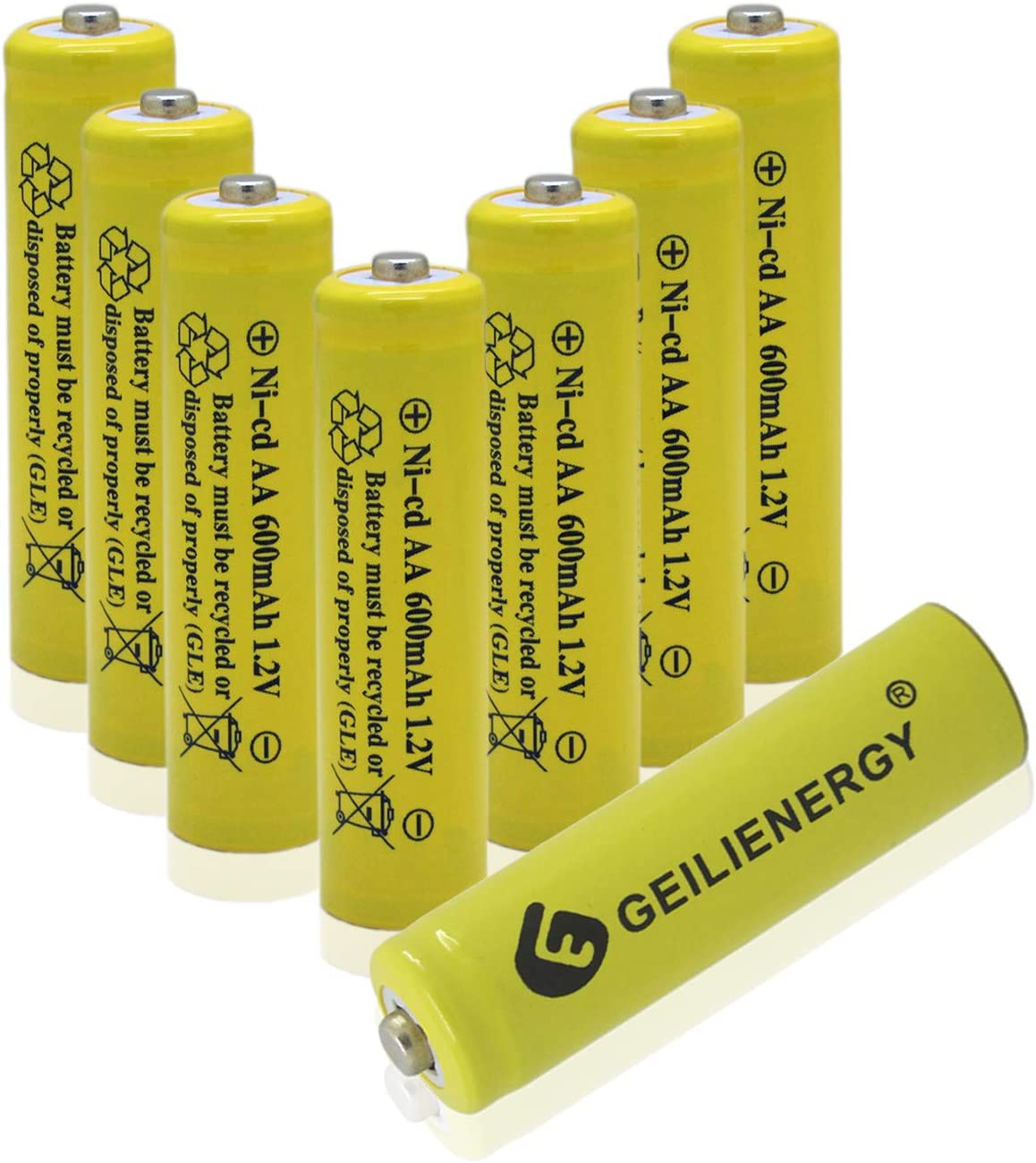Geilienergy AA NiCd 600 mAh 1.2 V Rechargeable Batteries for Solar Light Pack of 4