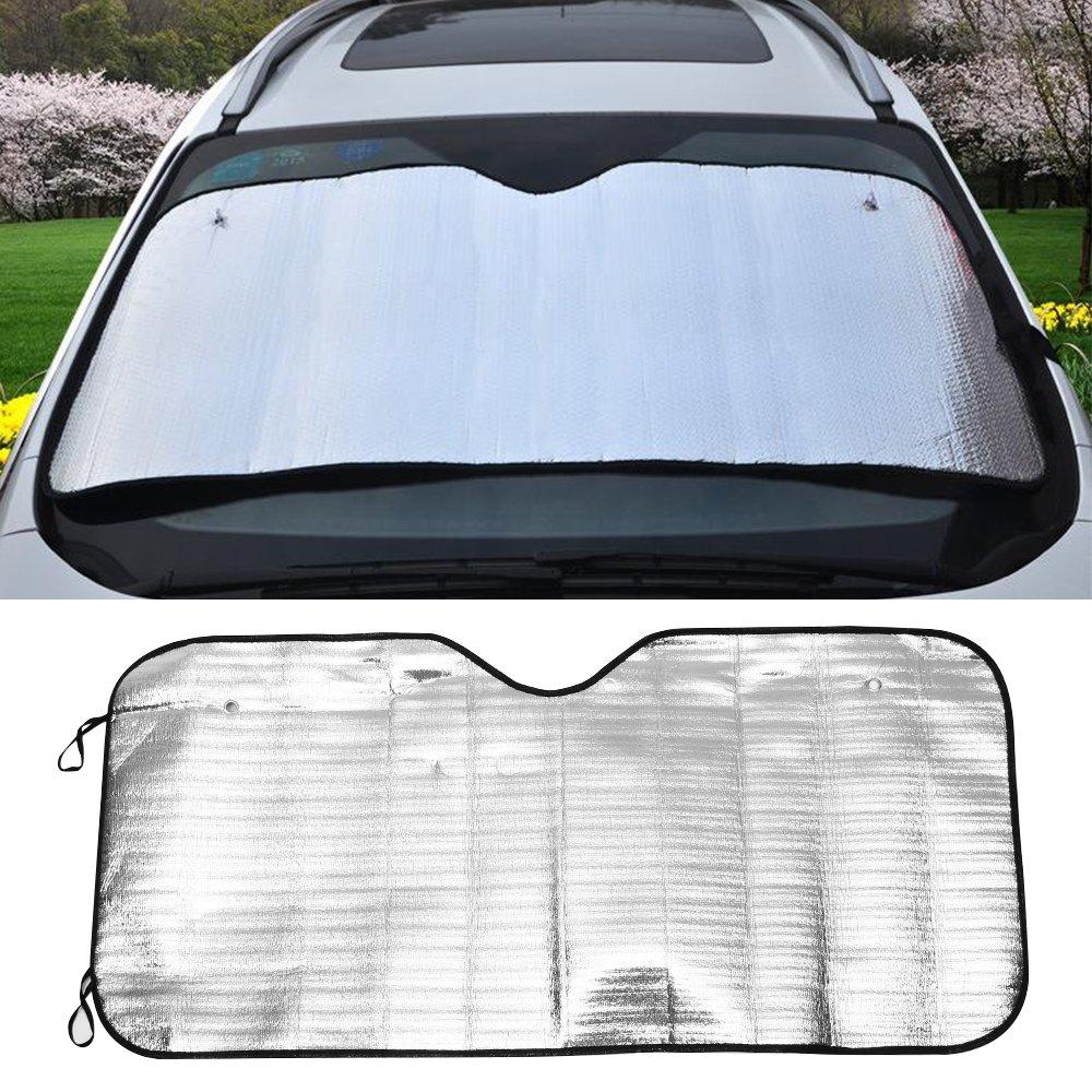 Demarkt Car Front Windscreen Windshield Sun Shade Aluminum Foil UV Parasol Heat Reflector for Universal Cars Silver (140 * 70 CM)