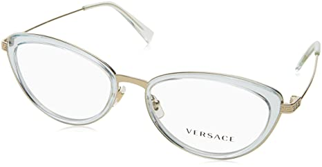 23508d89042b Image Unavailable. Image not available for. Colour  Versace Glasses Frames  1244 1405 Light Blue Transparent and Pale Gold 53mm Womens