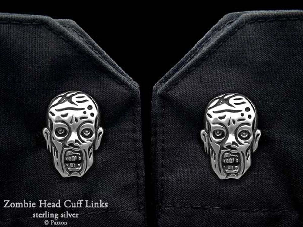Zombie Cuff Links in Solid Sterling Silver Hand Carved & Cast by Paxton