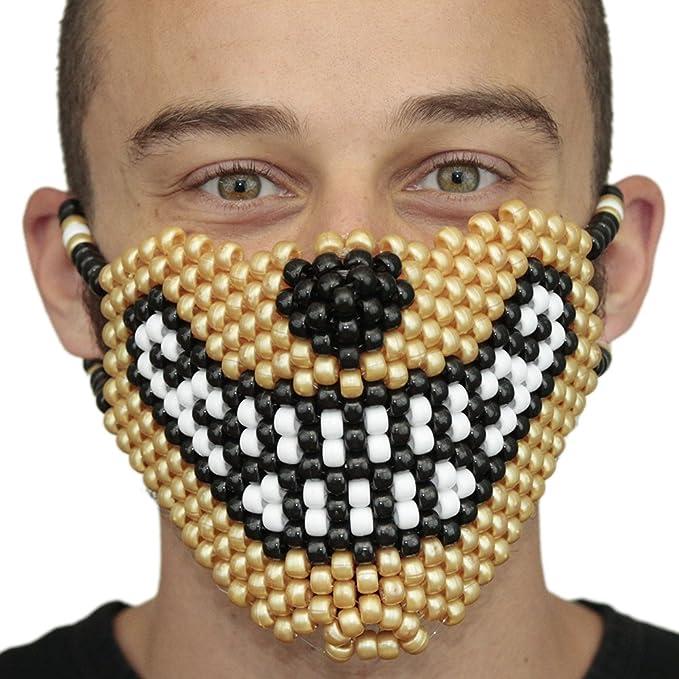 Mascara Kandi de Lobo Dorado por Kandi Gear, mascara de rave, mascara de halloween