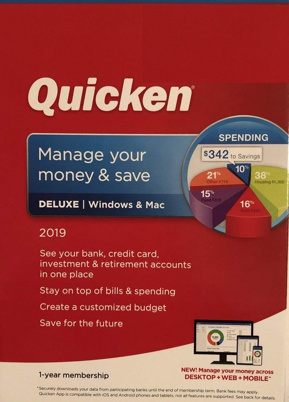 Quicken Deluxe 2019, Manage Your Money and Save, 1-Year Membership - Windows and Mac by Nolo Quicken