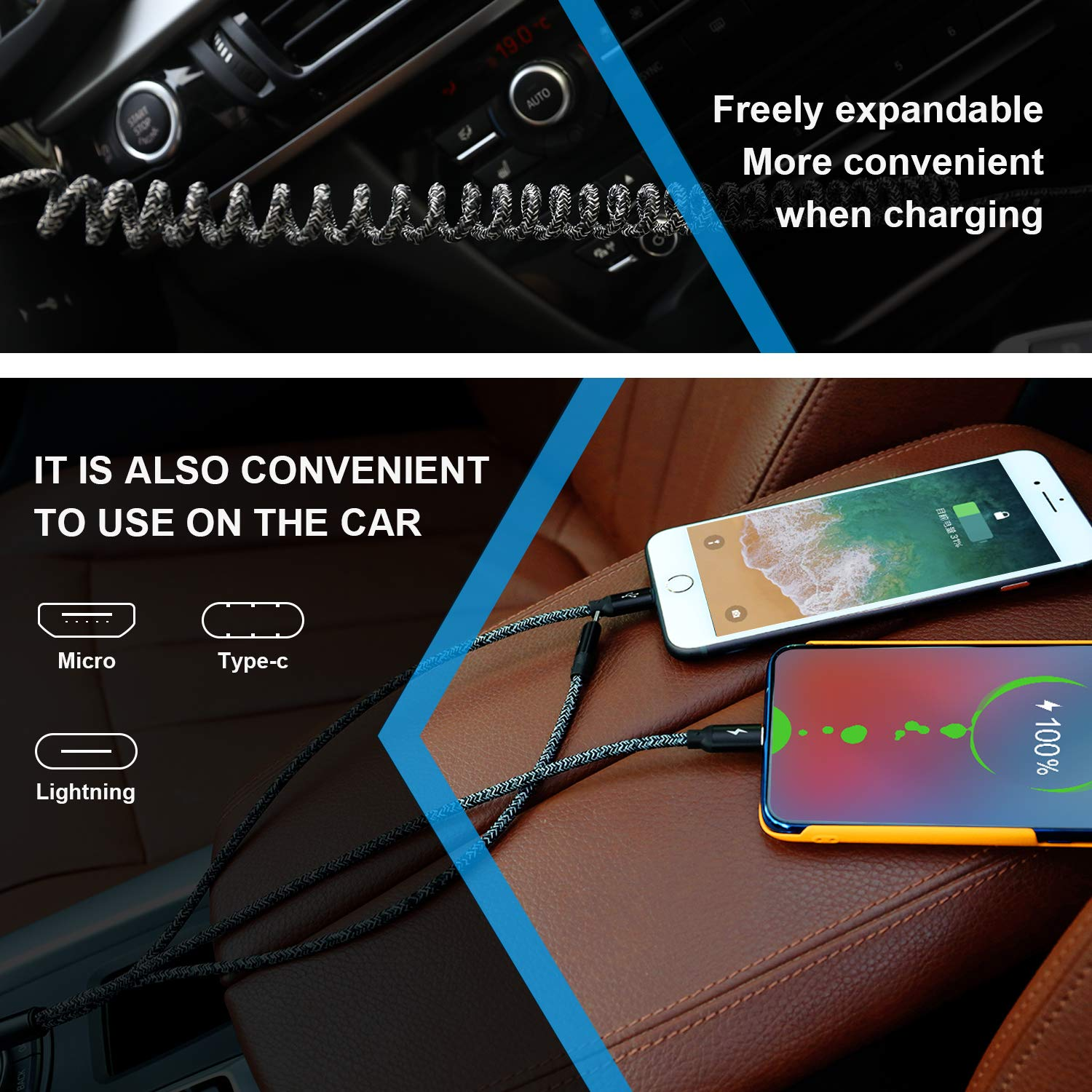 Multi Charging Cable,AOJI Nylon Braided Multi Retractable USB Cable 3 in 1 Car Phone Charger Cord Compatible for iPhone Xs/Xs Max/X/8/7 Plus, Samsung S10 S9 Note 9, Moto G7, LG G8 G7