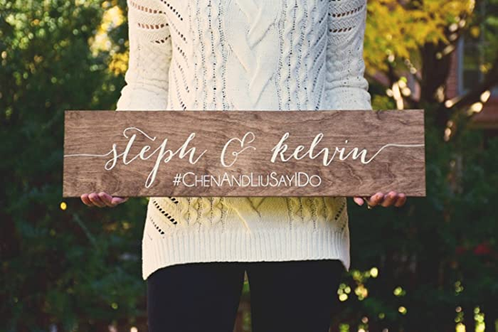 Wooden Wedding Signs.Name And Instagram Sign Wood Wedding Signs
