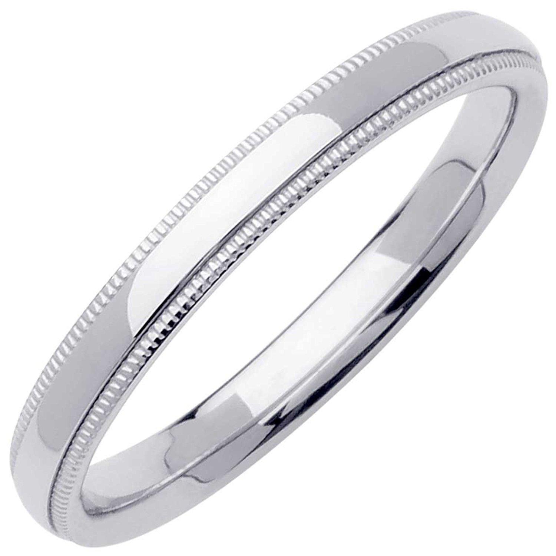 3 mm ZenJewels Solid 14k Yellow Gold Wedding Plain Ring Milgrain Band Classic Polished Finish Comfort Fit
