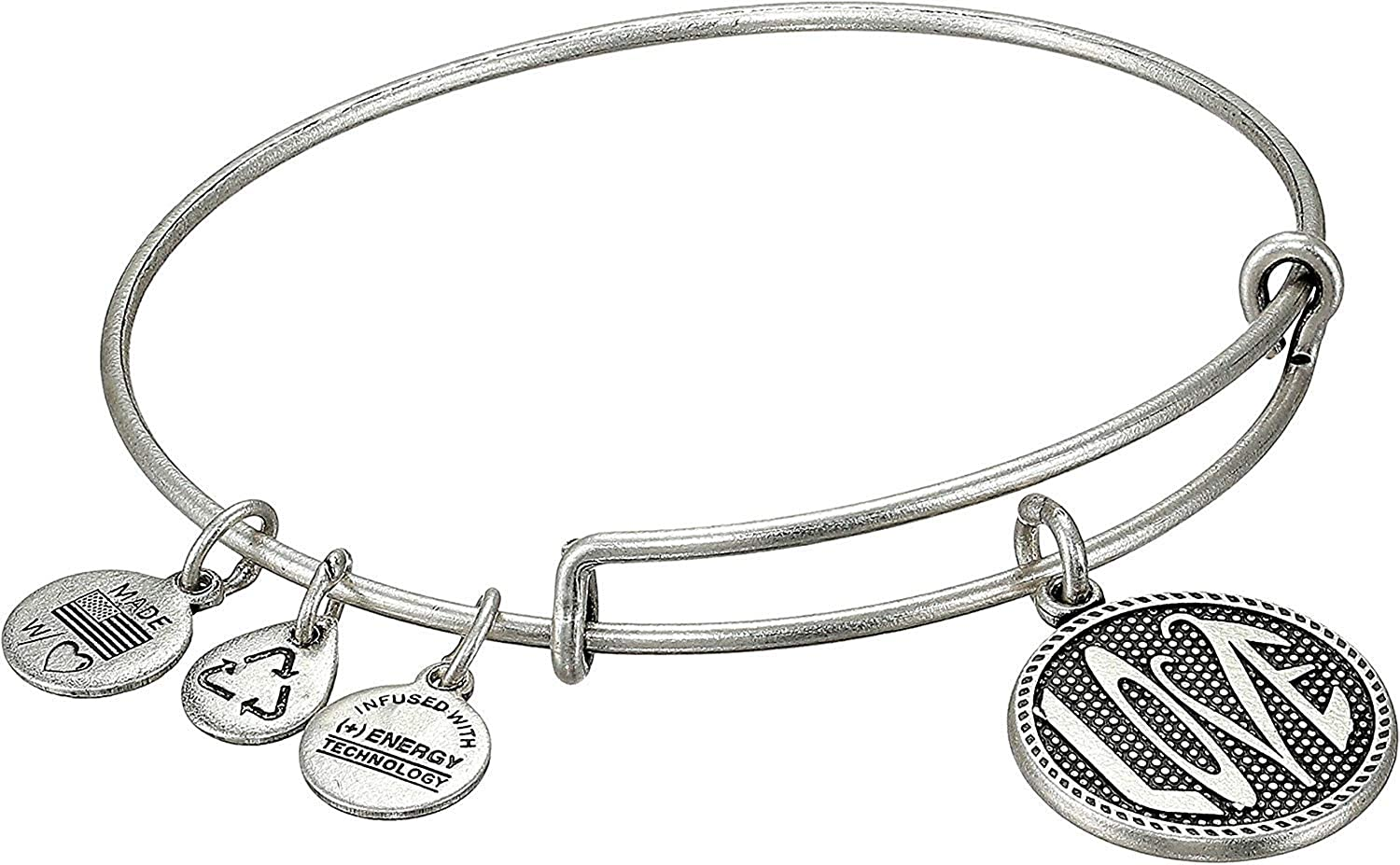c0d98ba842730d Amazon.com: Alex and Ani Women's Open Love Charm Bangle II Rafaelian Silver  Finish One Size: Jewelry