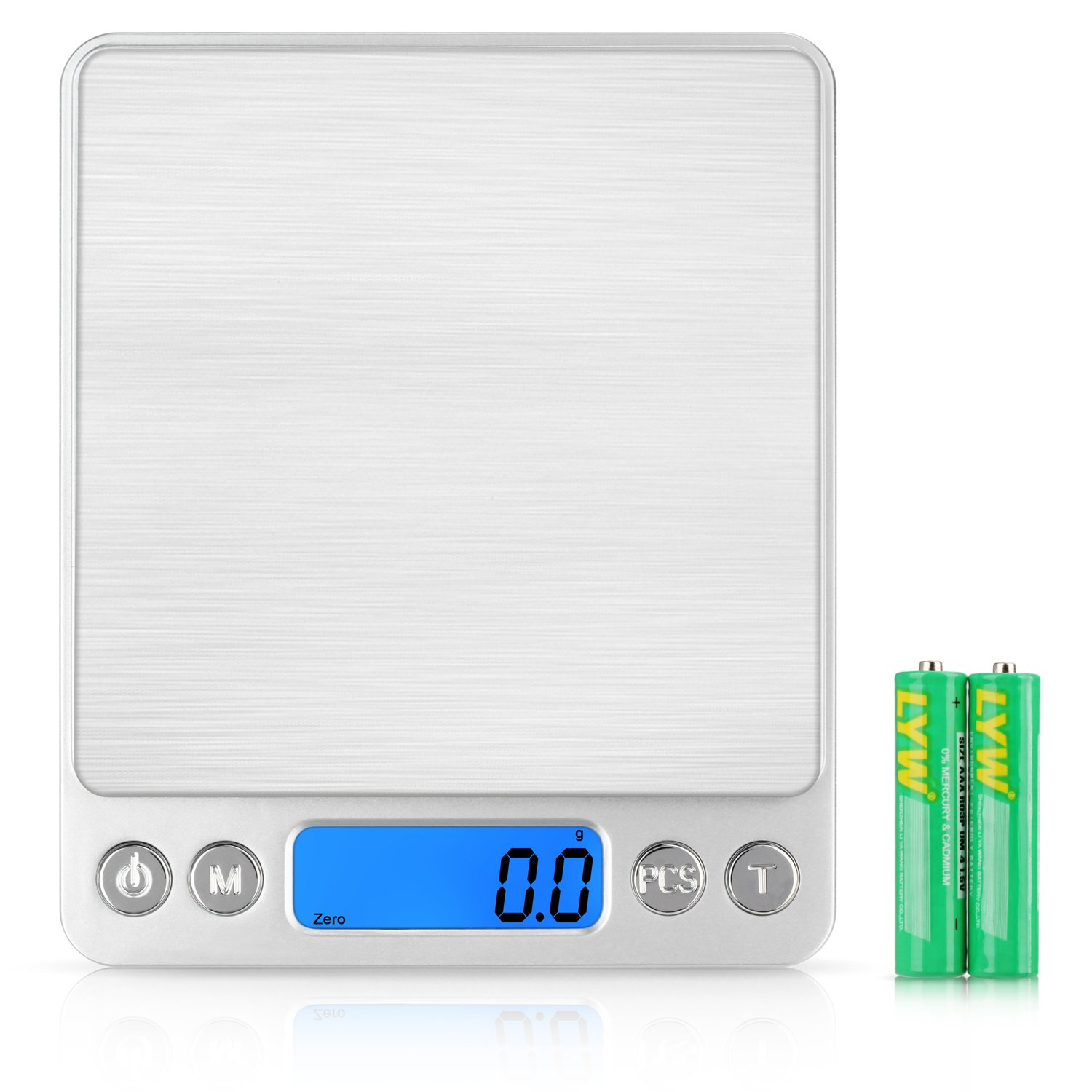 SHINE HAI Digital Kitchen Scale, Stainless Steel High-precision Pocket Food Scale, 0.1g - 3000g Multifunctional Pro Scale with Back-Lit LCD Display, Tare, PCS Features, Silvery (Batteries Included)