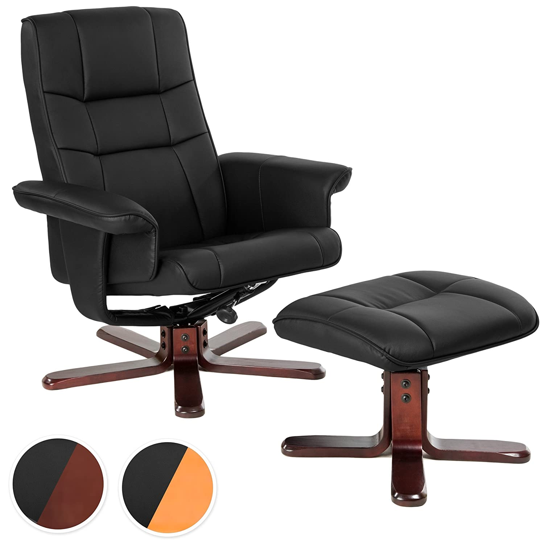 TecTake Fauteuil relax TV pour la détente avec pouf en simili-cuir avec pied en bois - diverses modèles - (Pieds: Bois -