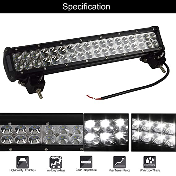 SKYWORLD Barra de luces LED, 17 pulgadas 43.18 cm 108W Spot Flood ...