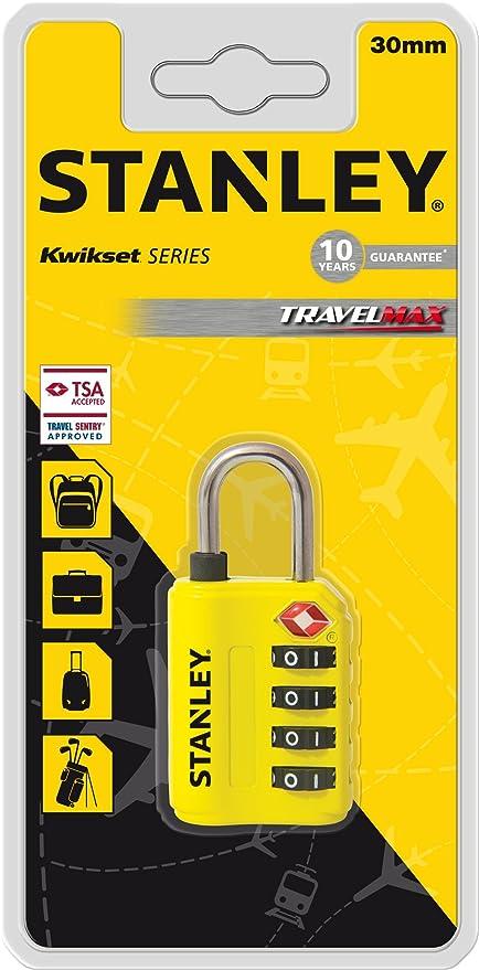 Stanley 81152393401 Candado de combinación de 4 dígitos con indicador de Seguridad, Amarillo, 30 mm: Amazon.es: Bricolaje y herramientas
