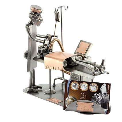 Steelman24 I Schraubenmännchen Anästhesist Mit Visitenkartenhalter I Made In Germany I Handarbeit I Geschenkidee I Stahlfigur I Metallfigur I