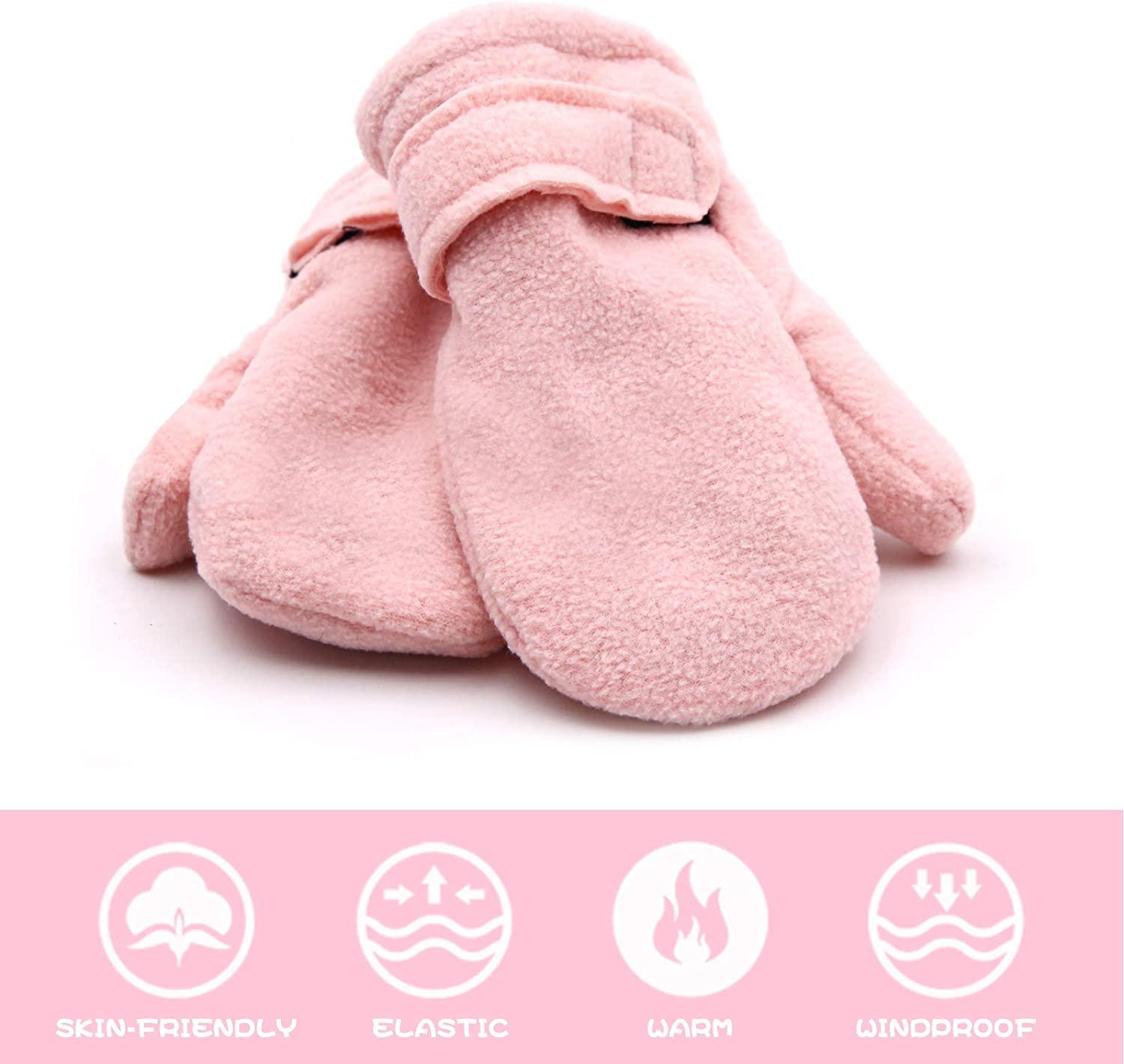 RAOEXI Toddler Infant Winter Mittens Lined with Fleece Easy-on Baby Boy Girls Warm Thick Gloves Outdoor