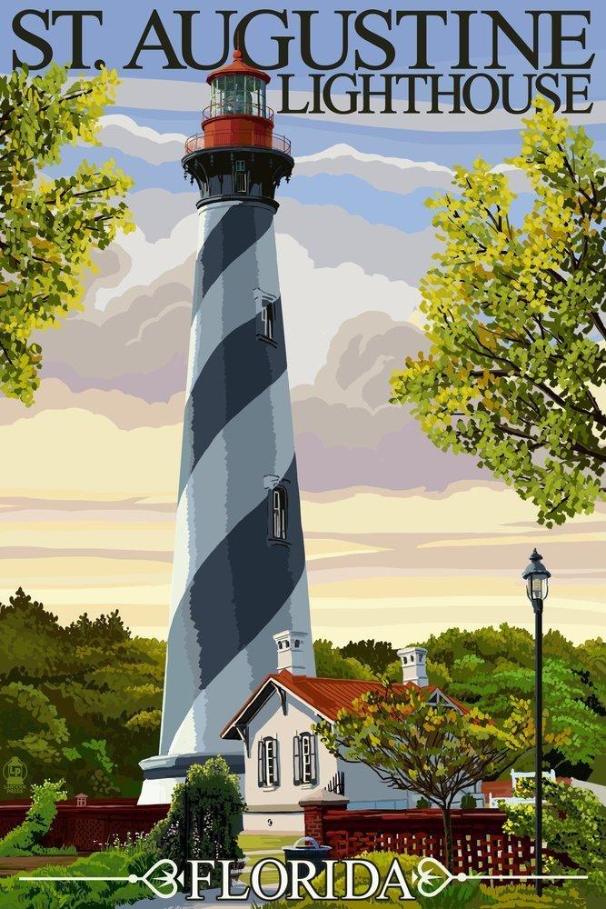 (12 x 18 Art Print)St. Augustine, Florida Lighthouse (12x18 Art Print, Wall Decor Travel Poster) B00N5CQKQI 12 x 18 Art Print12 x 18 Art Print