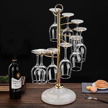 Independiente Desktop Wine Rack | Estante colgante 9 Copa de vino Apilamiento G Tipo