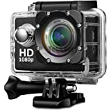 Mobile Link 12MP 1080P Sports Plastics Fibre Waterproof Camera with 2 inch LCD Micro SD Card Slot Multi Language Action Video and Up to 30 m Wide Angle (Black)